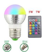 E27 E14 светодиодный 16 Цвет RGB Волшебная осветительная лампа 85-265 V 110 V 120 V 220 V RGB Светодиодный прожектор+ ИК-пульт дистанционного управления Управление