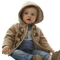 Winter Fashion Horn Button Child Thickening Outerwear Overcoat Male Child Outerwear Boy Jacket 2 Colors