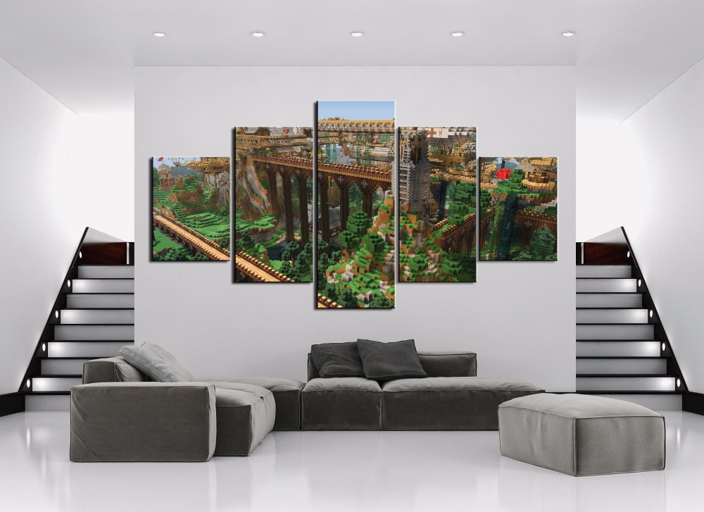 Game Poster 5 Pieces Home Painting Minecraft Landscape