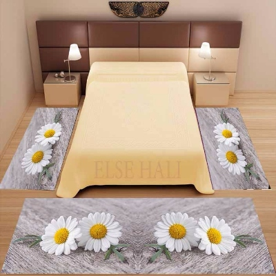 Else 3 Piece Gray Floor On White Yellow Daisy Flowers 3d Print Non Slip Microfiber Washable Decor Bedroom Area Rug Carpet Set