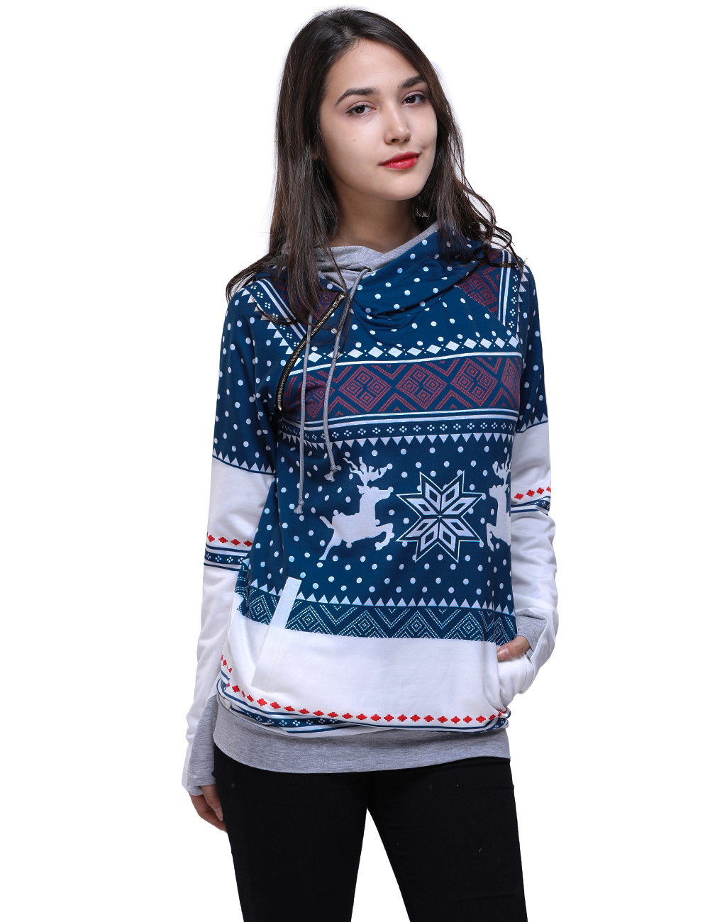 New 2018 Autumn Winter Christmas Printed Women Hooded Sweater Fawn & Snowflake Knitted Christmas Sweaters