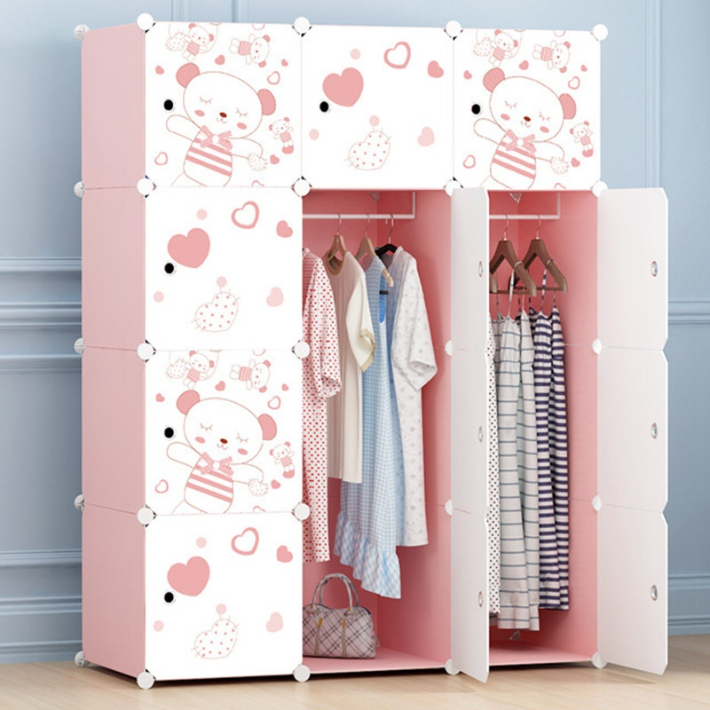 Hot Selling Portable Cabinet Cartoon Cute Clothes Wardrobe Closet Waterproof Clothes Organizer Storage Hanger Rack wardrobe extra large eco friendly cartoon hanging clothes cabinet wardrobe storage box wire combined type child simple