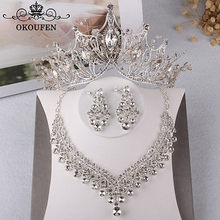 OKOKFEN 2018 Baroque Women Jewelry Sets Tiaras Necklace Earrings Rhinestone Zircon Crowns Wedding Hair Accessories Party Gown(China)