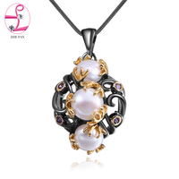 ZHE FAN Black Gold Color Jewelry Necklace Women Simulated Pearl Unique Two Tone Plating Fashion Christmas