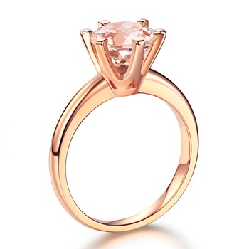 Peacock Star 14K Rose Gold Bridal Wedding Engagement Classic Solitaire Ring 1.2 Ct Peach Morganite 6 Claws Prong 2