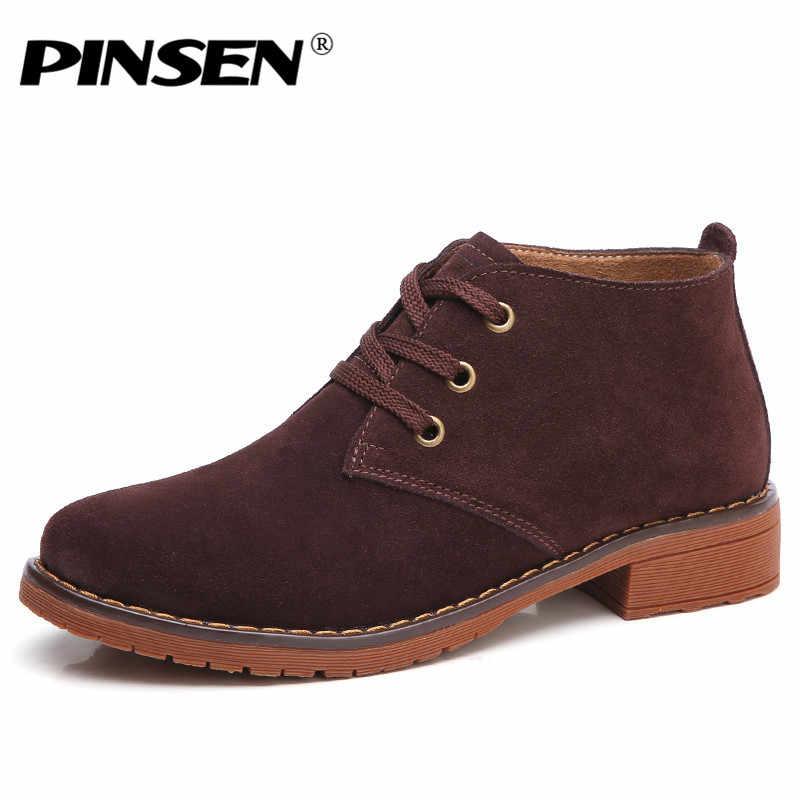 PINSEN 2020 sonbahar kadın deri yarım çizmeler kadın süet deri motosiklet botları düz topuklu botlar bayanlar rahat kar botları