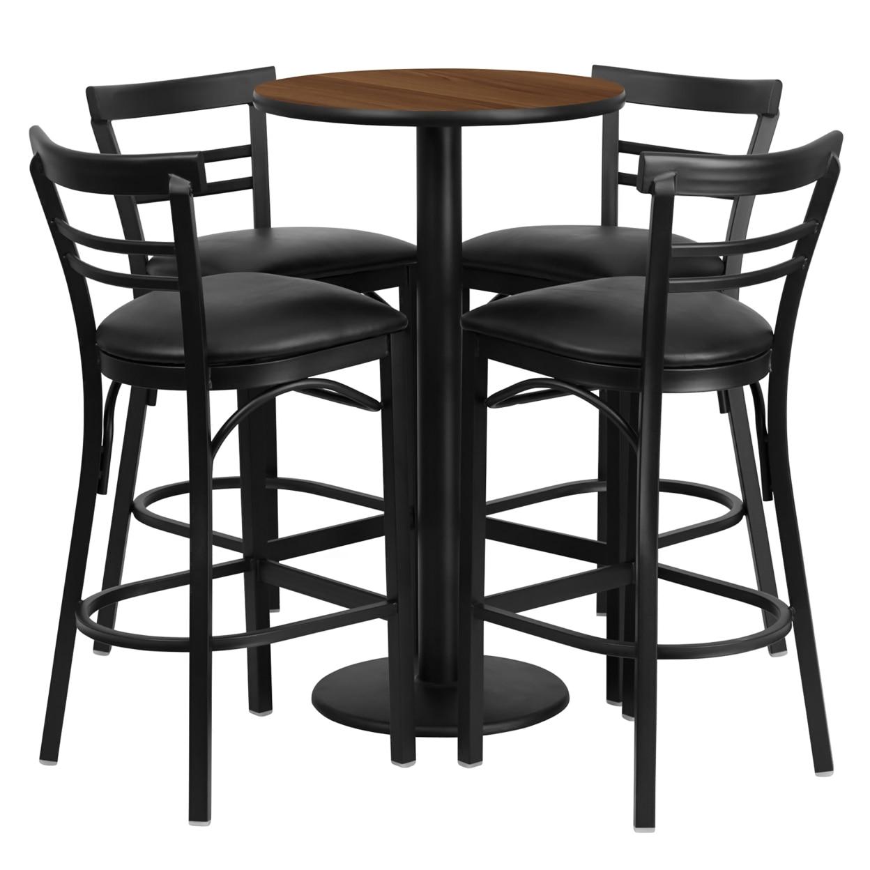 все цены на Flash Furniture 24'' Round Walnut Laminate Table Set with 4 Ladder Back Bar Stools - Black Vinyl Seat [863-RSRB1036-GG]