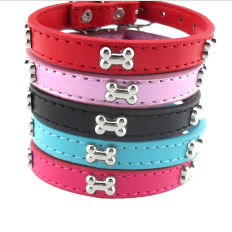 4 Sizes!! Bone Pet Dog Collar Durable PU Leather Adjustable Puppy Cat Strap Collar XS/S/M/L 5 Colors !!!!!!
