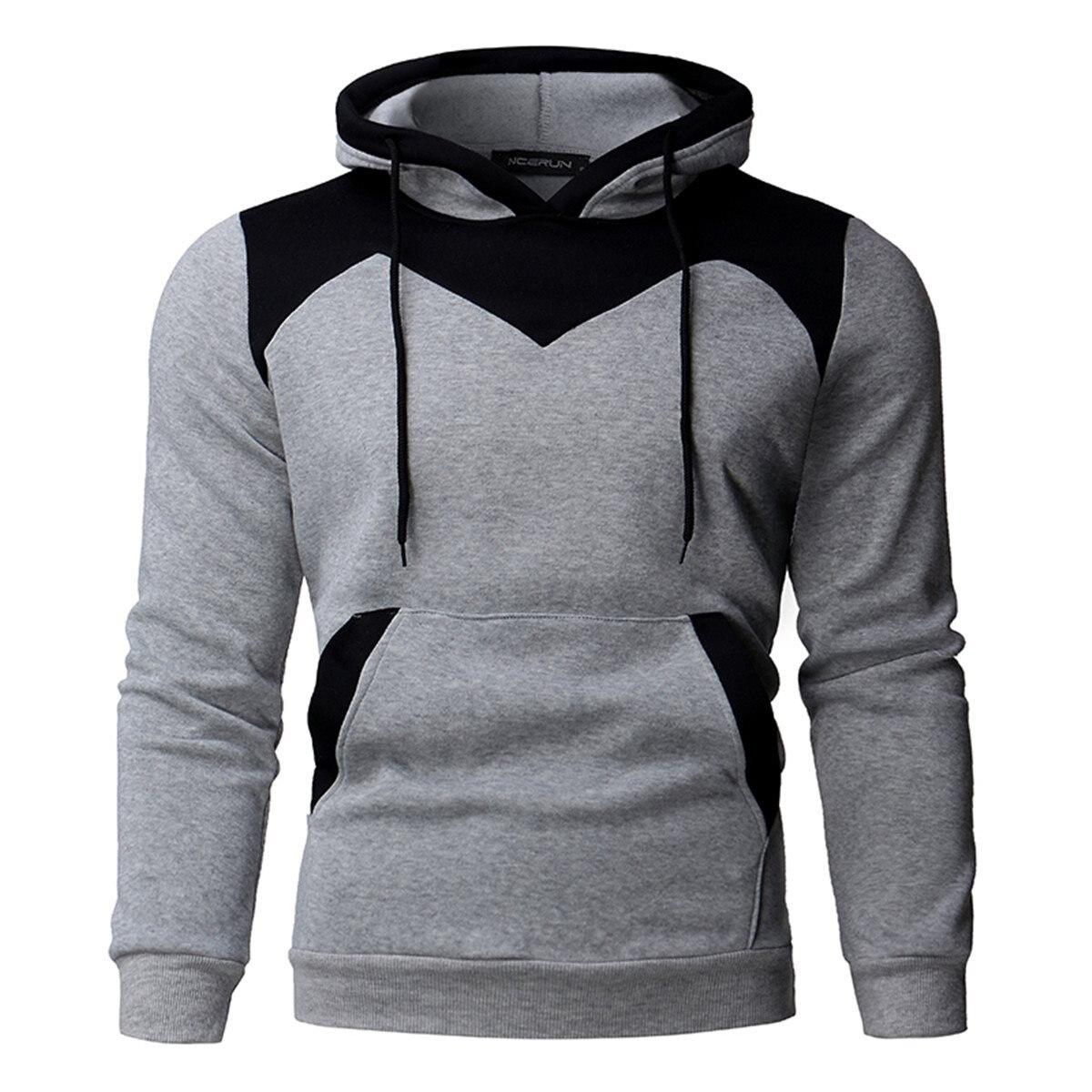 2018 Fleece Hoodies Männer Nähte Samt Trainingsanzug Pullover Herren Slim Fit Langarm Mit Kapuze Sweatshirt Herbst Winter
