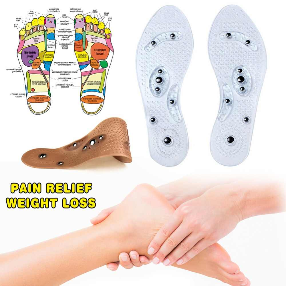 Dropship 2pcs/Pair Eight-grain Magnetic Soft Feet Insoles Acupressure Slimming Insoles Vickypick Insoles for Foot Care Tools