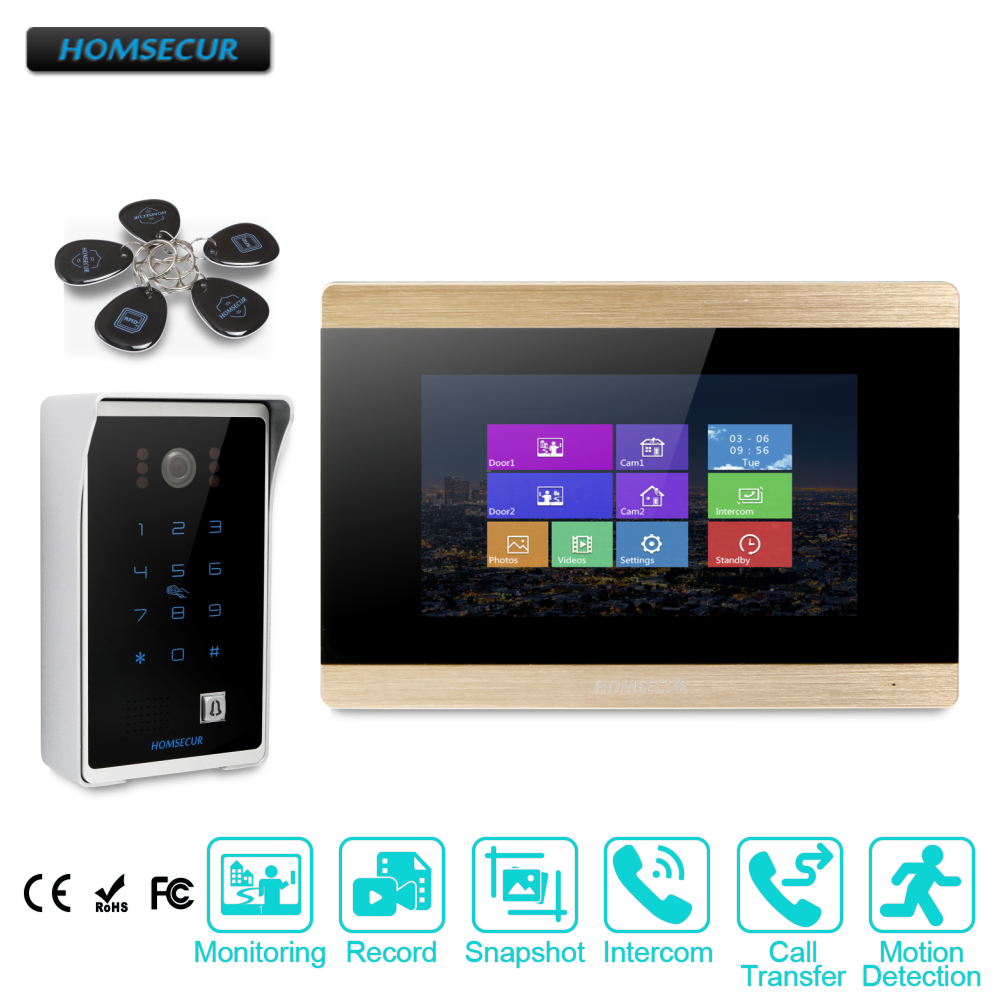 HOMSECUR 7 Hands-free Video Door Entry Phone Call System+Password & ID Access BC081+BM715-GHOMSECUR 7 Hands-free Video Door Entry Phone Call System+Password & ID Access BC081+BM715-G