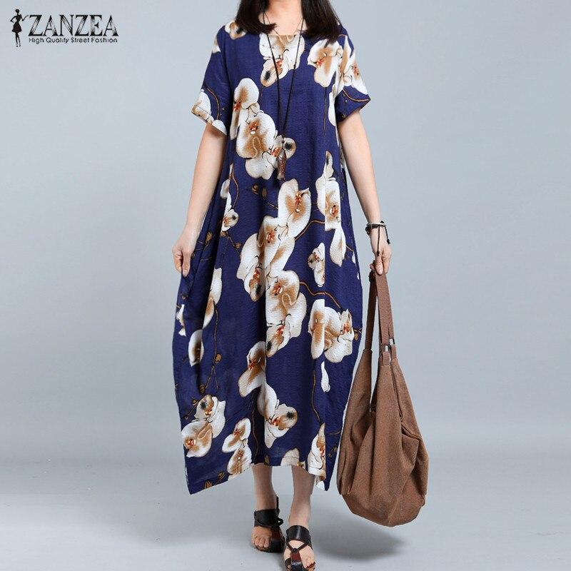 Tops Blusas 2017 ZANZEA Women Short Sleeve Casual Loose Shirt Dress Summer Round Neck Floral Print
