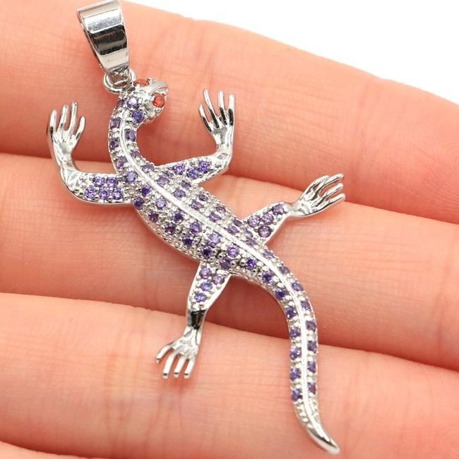 SheType 3 6g Lizard Purple Amethyst Garnet Gift For Girls 925 Solid Sterling Silver Pendant 50x27mm in Pendants from Jewelry Accessories
