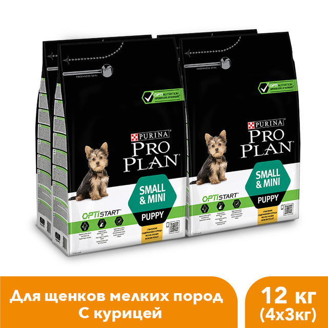 Сухой корм Pro Plan для щенков мелких и карликовых пород с комплексом OPTISTART® с курицей и рисом, 12 кг.