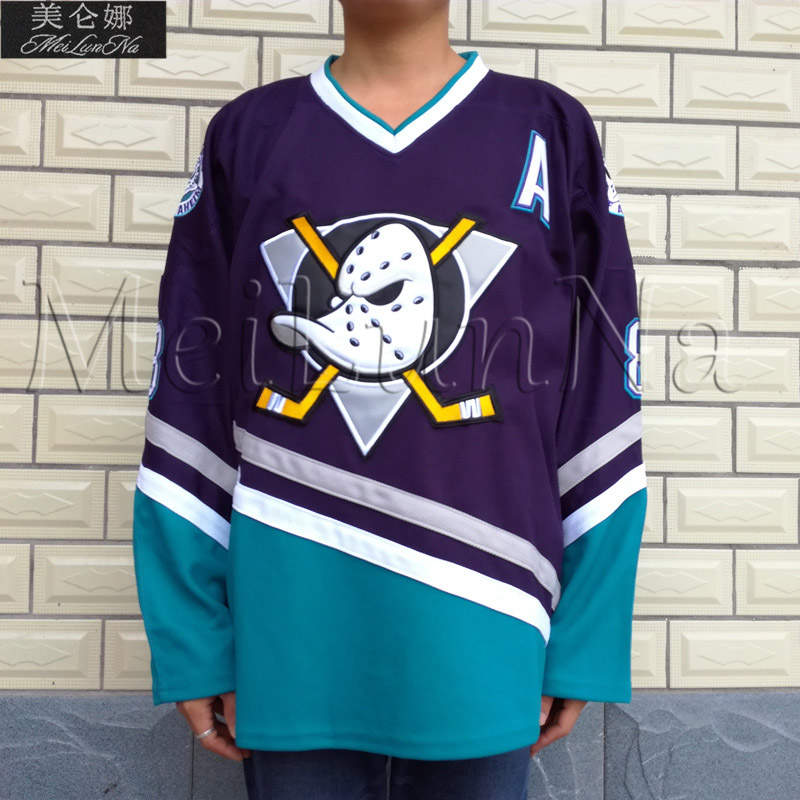 the latest d48a5 ef0ad US $28.99 |MeiLunNa Mighty Ducks Movie Ice Hockey Jerseys #8 Teemu Selanne  0802 White Purple Blue-in Hockey Jerseys from Sports & Entertainment on ...