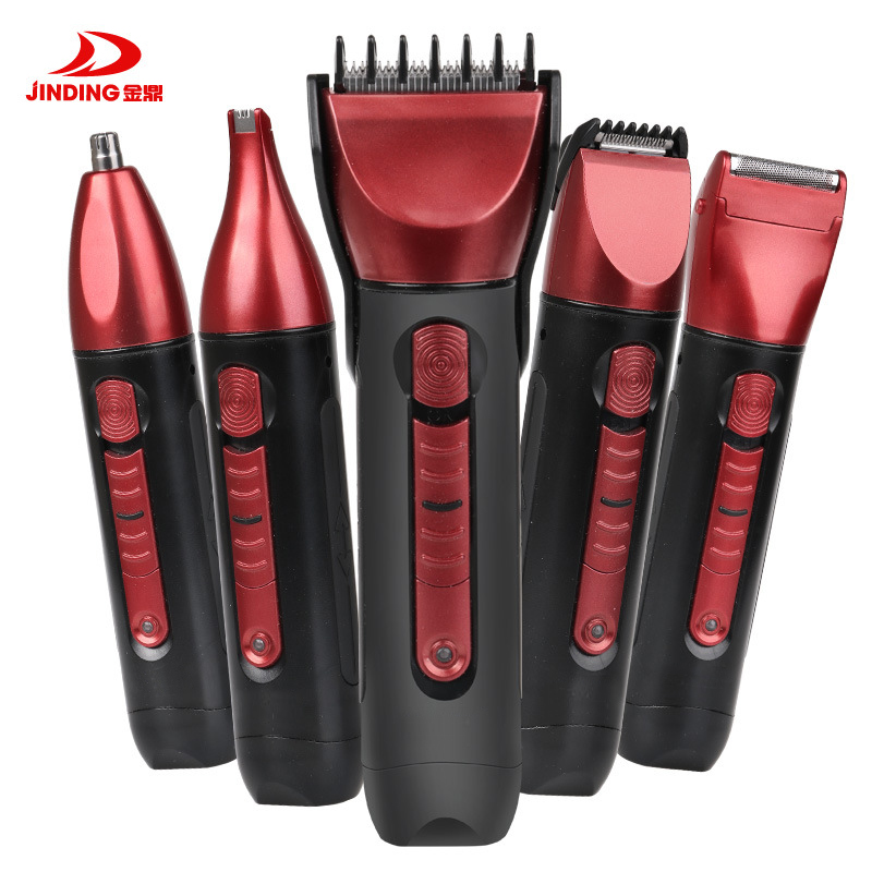 Jinding 5 in 1 Waterproof Rechargeable Hair Trimmer Hair Beard Clipper kit Haircut Tools Scissors Electric Shaver Razor Nose Ear 5 in 1 rechargeable cordless hair clipper precision trimmer beard trimmer nose hair trimmer foil beard trimmer with turbo button