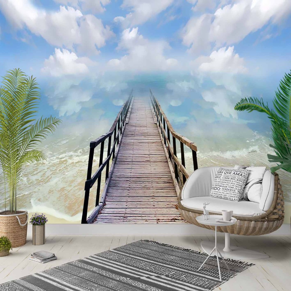 Else Tropical Sea Blue Sky Gray Bridge 3d Print Photo Cleanable Fabric Mural Home Decor Living Room Bedroom Background Wallpaper