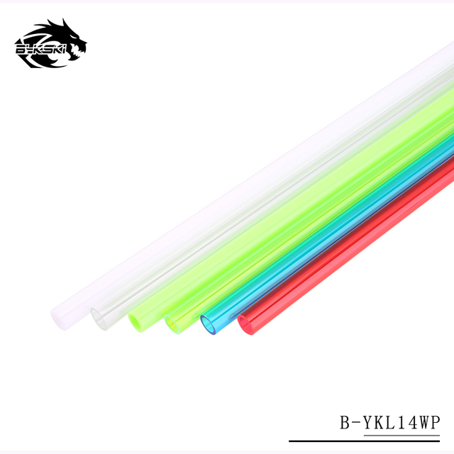 Bykski Acrylic Hard Tubing OD14MM Transparent Water Cooling Hard Pipe 50CM length Red Blue Green