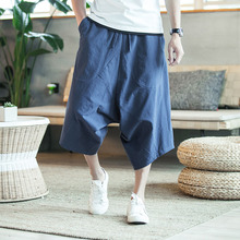 MRDONOO Men's wide crotch harem pants loose summer large cropped trousers wide-legged bloomers Chinese style flaxen baggy 3618