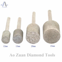 12 40mm Grit 80 Rough Diamond Coated Cylinder Head Grinding Bit Burrs Points for Lapidary Carving Tools for Stone Working