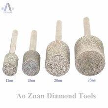 12 40mm grain 80 diamant brut enduit tête de cylindre meulage des Points de bavures pour outils de sculpture lapidaire pour le travail de la pierre