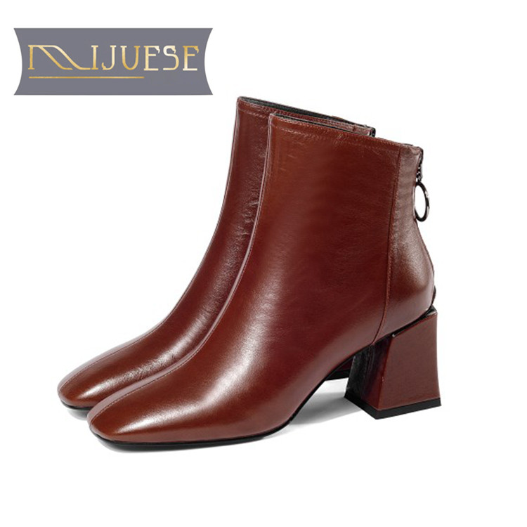 MLJUESE 2019 women ankle boots soft cow leather zippers red color high heels boots winter short plush boots size 41 party dressMLJUESE 2019 women ankle boots soft cow leather zippers red color high heels boots winter short plush boots size 41 party dress