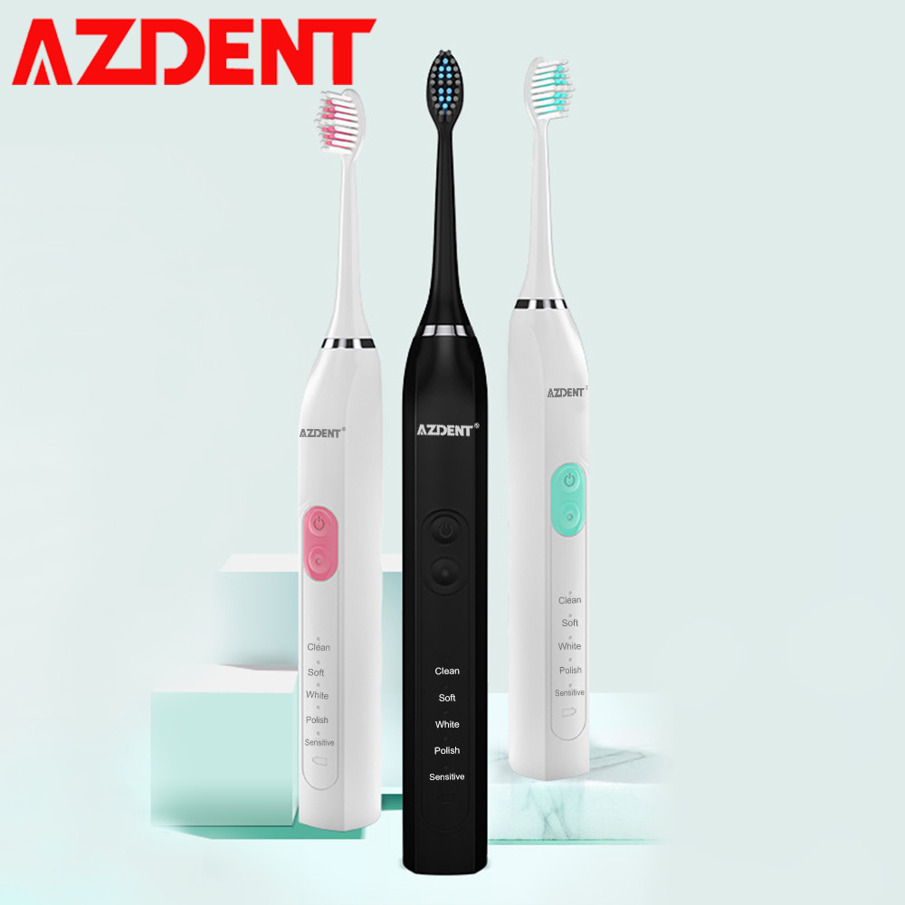 New Smart 5 Modes Sonic Electric Toothbrush Rechargeable Ultrasonic Teeth Tooth Brush 2pc Heads 2 Minutes Timer IPX7 Waterproof 5 modes professional ultrasonic sonic electric toothbrush rechargeable 4 replacement heads adults timer tooth brush waterproof