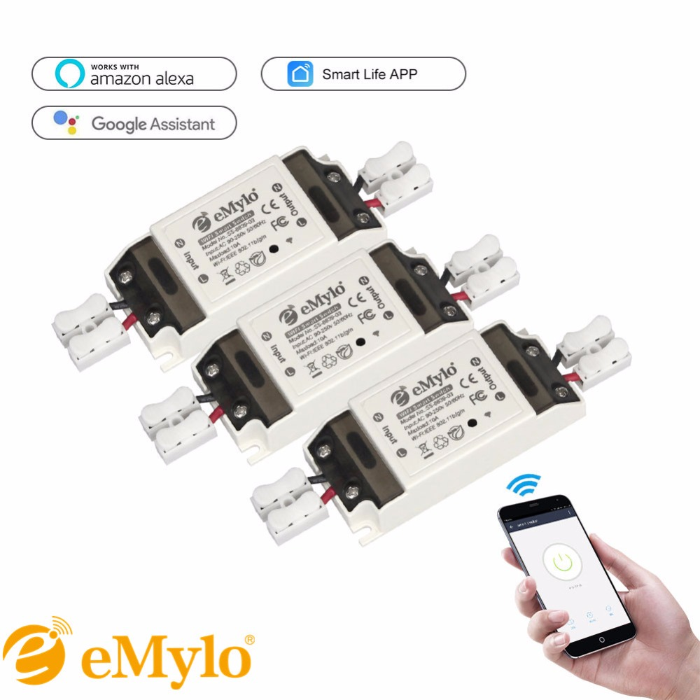 Emylo Wireless Smart Wifi Light Switch Remote Control Relay Breaker Circuit With Timer Timers Compatible Alexa Echo Google