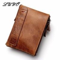 Crazy Horse Genuine Leather Short Zipper Men Wallets Carteira Masculina Male Gift Purse Wallet Small Walet Cartera Card Holder