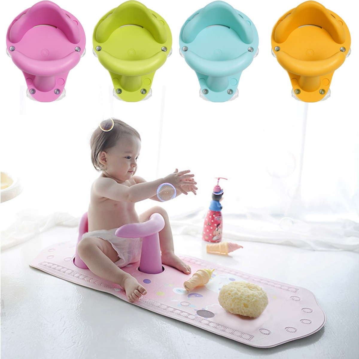 Nonslip Baby Infant Kids Toddler Bath Seat Ring Safety Comfort Chair ...