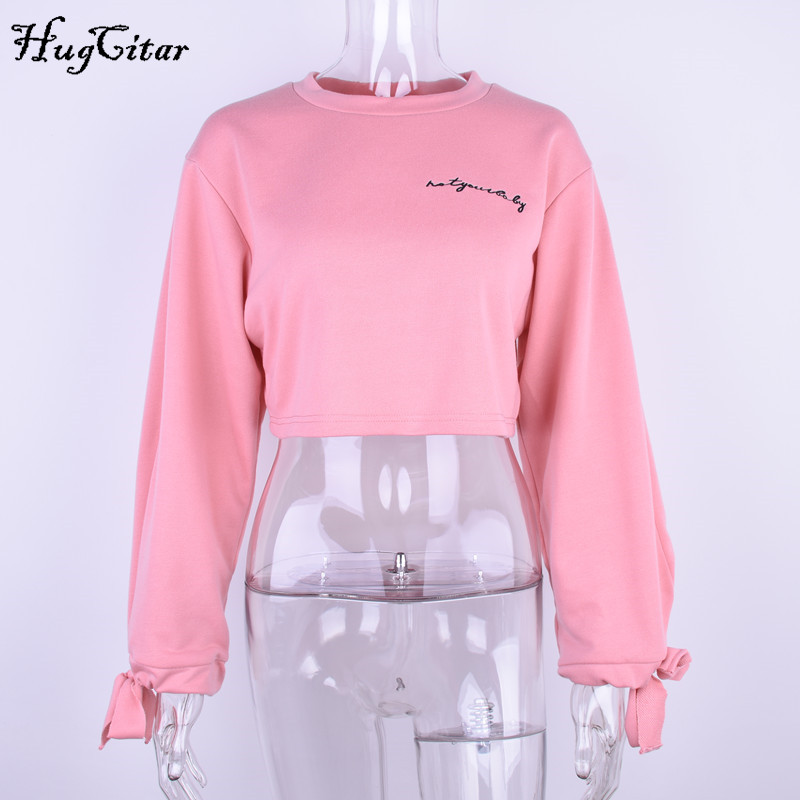 hugcitar letters embroidery sweatshirt 2017 autumn female long sleeve women crop top pink white solid girl casual pullover Hugcitar letters embroidery Sweatshirt female, Long Sleeve crop top UTB83g9yj8ahduJk43Jaq6zM8FXaX