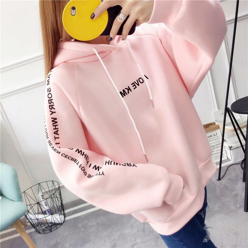 MoneRffi Letter Hoodies Women Printed Fashion Pullovers 2018 Krean Style Oversized Sweatshirts Femme Loose Casual Streetwear