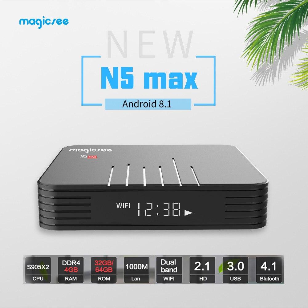 Magicsee Android 8.1 TV BOX N5 Max Supporto IPTV Smart TV box 4 K Amlogic S905X2 32G/64G Rom Dual Wifi Bluetooth4.1 Android TV BoxMagicsee Android 8.1 TV BOX N5 Max Supporto IPTV Smart TV box 4 K Amlogic S905X2 32G/64G Rom Dual Wifi Bluetooth4.1 Android TV Box