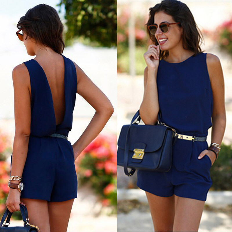 Elegant Women Summer Casual Sleeveless Playsuit Office Ladies Backless Beach Short Jumpsuit Solid Romper