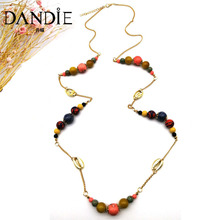 Dandie floral print ceramic bead, acrylic wooden bead long chain necklace, trend jewelry