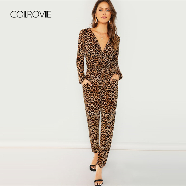 99af53ad3c4ad COLROVIE Deep V Leopard Print Belted Wrap Sexy Jumpsuit Women 2018 Autumn  Casual Overalls For Women Elegant Female Jumpsuits
