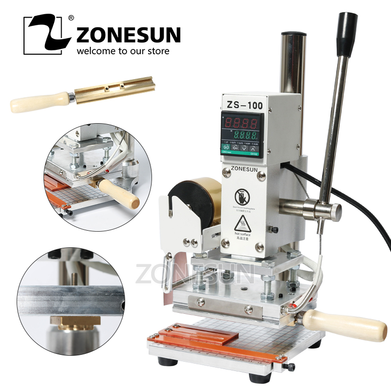 ZONESUN ZS-100 Manual PVC Card Leather Paper Hot Foil Stamping Bronzing Embossing Machine Heat Press Machine Branding Iron