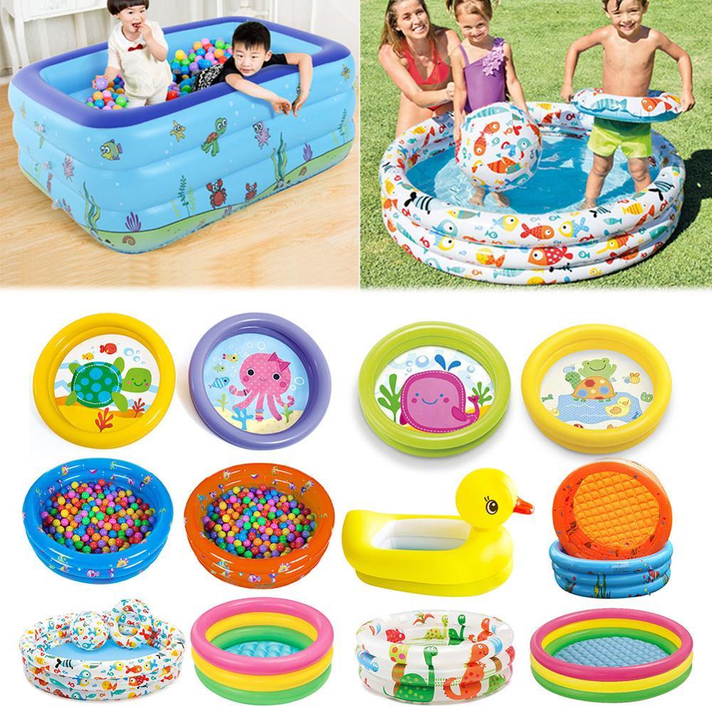 Inflatable Baby Bath Swim Tubs Newborn Thickening Children Cartoon Portable Bathtub Bucket Safety Swimming Pool