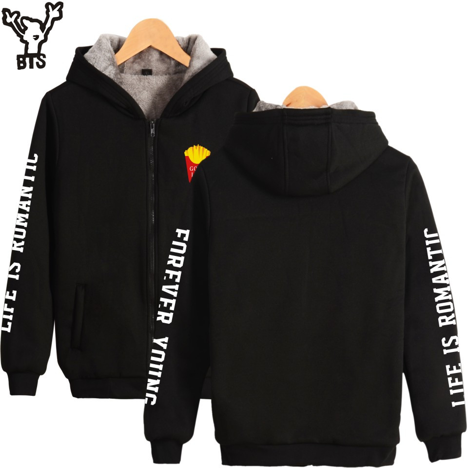 BTS Good Life Women Hoodies Sweatshirts With Zipper Thickening Black Long Coat Women Winter Warm Winter Jacket Women For Snow