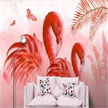Hand-painted oil painting tropical plants flamingo modern fashion background wall decorative manufacturers wholesale wa