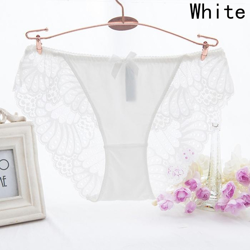 2018 New Fashion Top-Quality Stitching Lace Underwear Women Backless Hollow Out Panties Bow Ruffle Sexy Panties Satin Briefs
