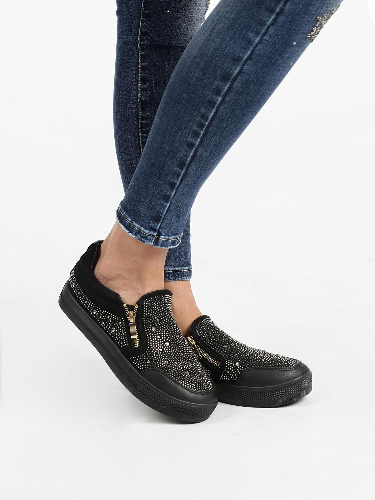 Flat Sneakers With Rhinestone