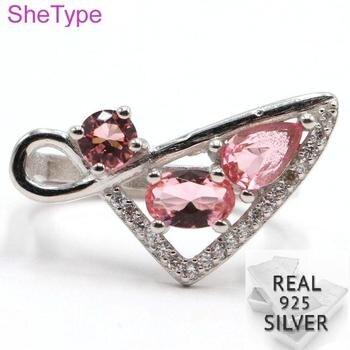 3,56g Real sólida plata esterlina 925 Rosa Morganites CZ regalo para anillos para chicas 23x12mm