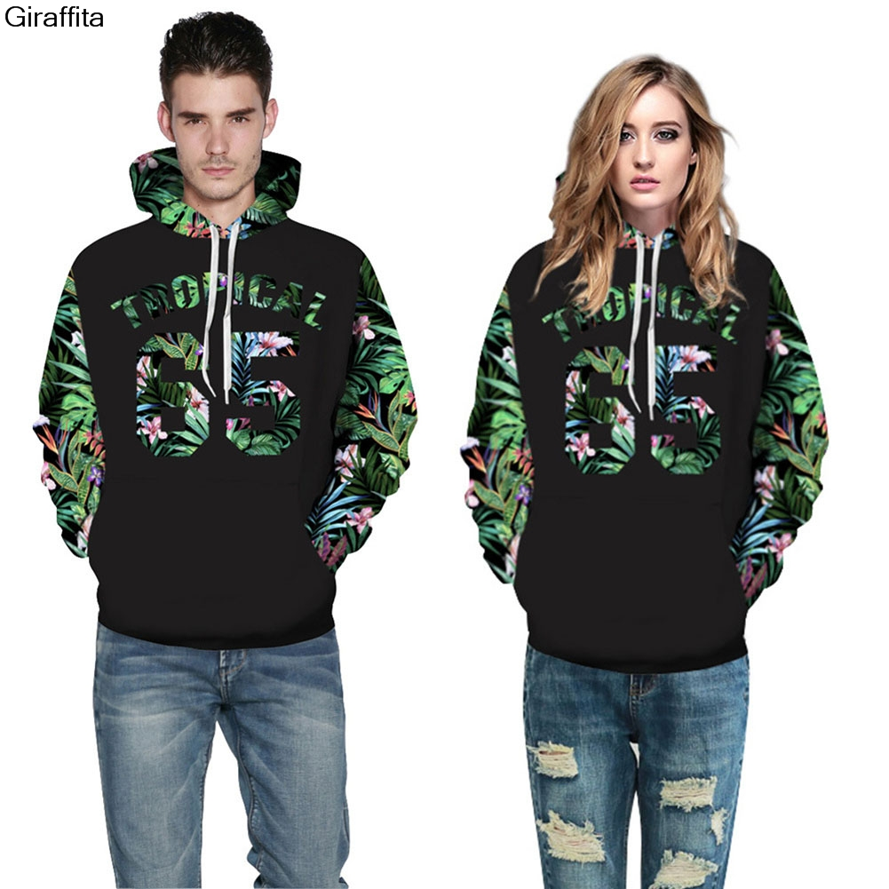Hooded Sweatshirt Men/women Hoodies Tropical Forest Print 3d Sweatshirts With Hat Men Hoody Hoodies