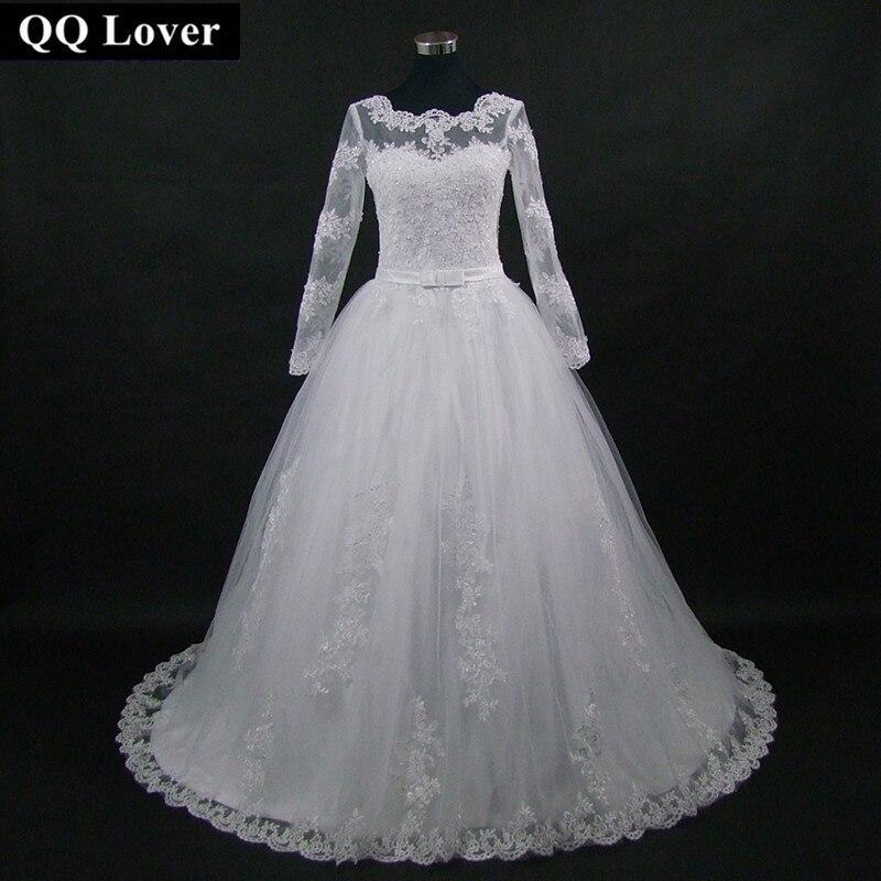 QQ Lover 2019 New Long Sleeve Bow A Line Lace Scoop Wedding Dress Vestido De Noiva
