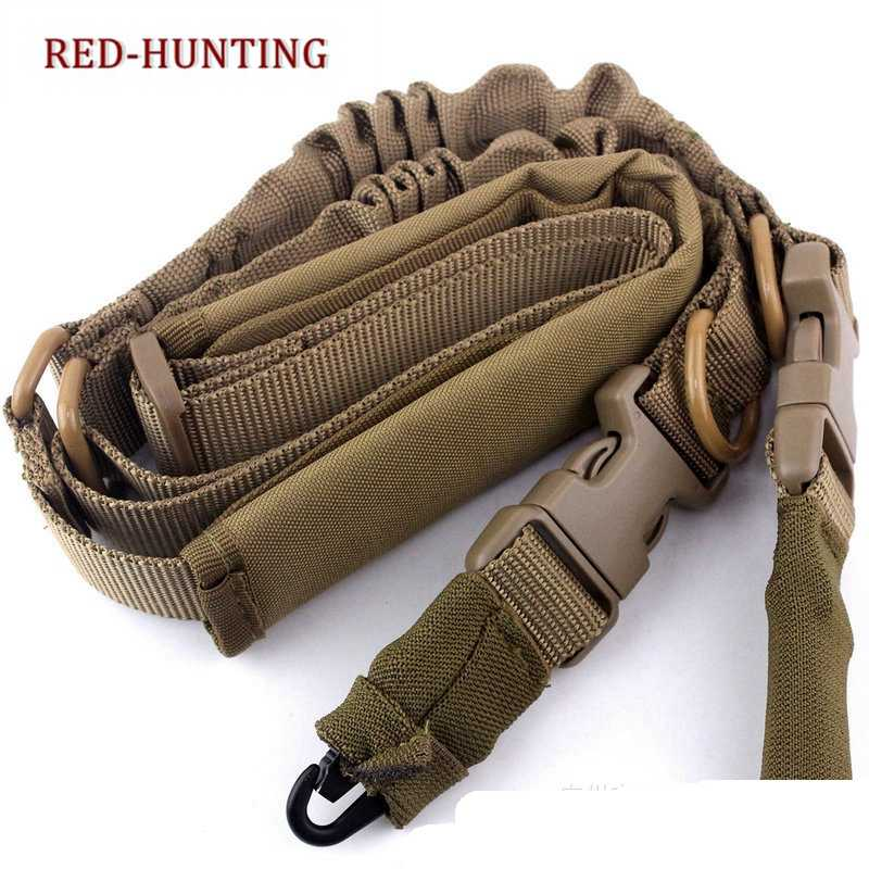 Jacht Airsoft Gun Sling Tactische Militaire Verstelbare 1 Single Point Bungee Rifle Sling Strap System