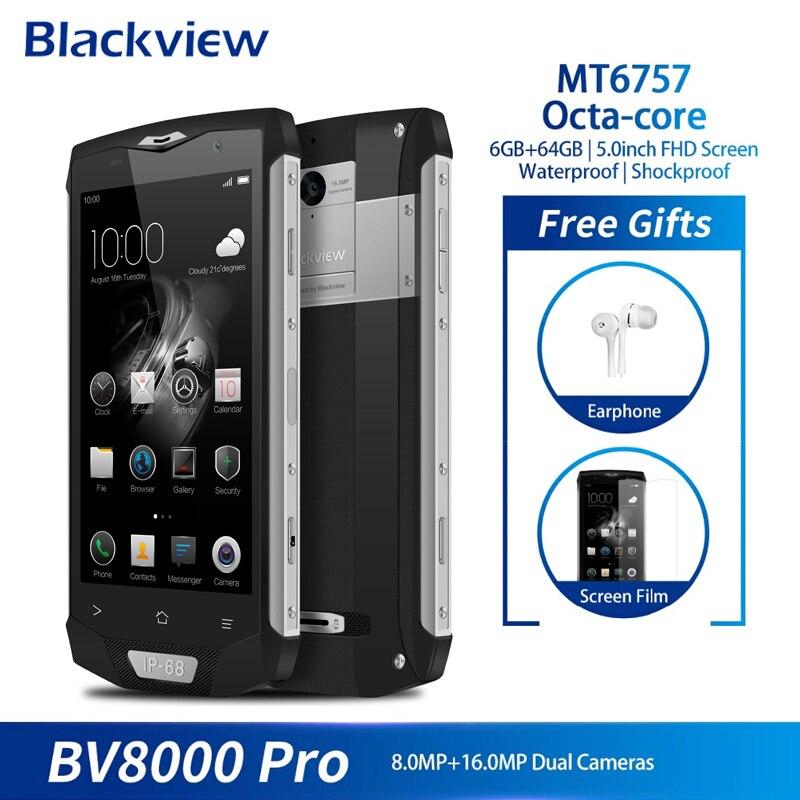 Blackview BV8000 Pro 4G Smartphone Android 7.0 Octa Core 6 GB + 64 GB empreinte digitale 5 pouces FHD IP68 étanche téléphone portable 16.0MP NFC