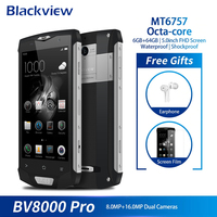 Blackview BV8000 Pro 4G Smartphone Android 7.0 Octa Core 6GB+64GB Fingerprint 5 Inch FHD IP68 Waterproof Mobile Phone 16.0MP NFC