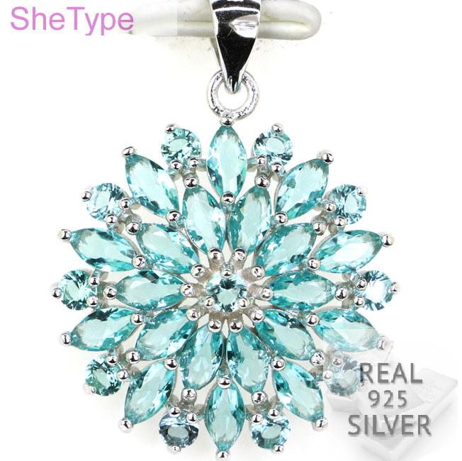 Guaranteed Real 925 Solid Sterling Silver 3.0g Rich Blue Aquamarine Pendant 38x22mmGuaranteed Real 925 Solid Sterling Silver 3.0g Rich Blue Aquamarine Pendant 38x22mm