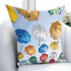 Innego błękitne niebo czerwony żółty zielony białe parasole natura 3D drukuj rzuć poszewka na poduszkę poduszka kwadratowa ukryty zamek błyskawiczny 45x45 cm w Poszewka na poduszkę od Dom i ogród na